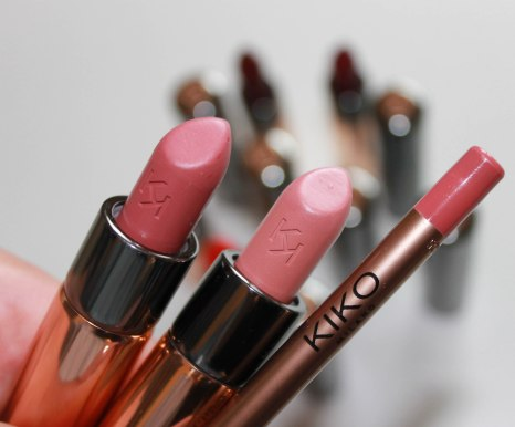 107 Mocaccino- bold pink colour; 103 Powder Pink- pearly bright pink colour; 303 Tea Rose lip liner- nude pink colour
