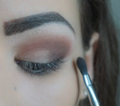 Apply dark brown matte eyeshadow in the corner of your eye lid; Sigma E56; 240 and blend the harsh lines Sigma E47