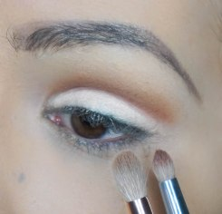 apply darker matte eyeshadow with orange undertone with dense pencil brush right on your cut crease and then blend it softly upwards with fluffier pointy brush; EXTRA BITTER with S E30 and Z 231