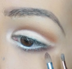 apply darker matte eyeshadow right under your lower lash line and blend; FAITH with S E30 then apply soft shimmery eyeshadow in inner corner of your eye for a highlight; BLOW with Z 237