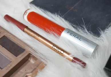Kiko Milano Creamy Colour lip liner 320 and Feral Cosmetics liquid lipstick Lustful